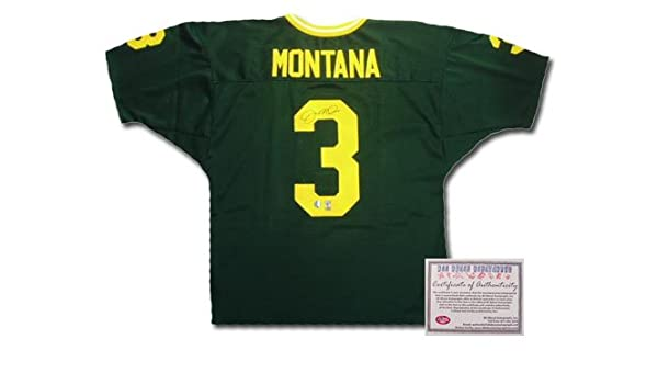 new product b66bd fd4a5 Joe Montana Hand Signed Authentic Style Notre Dame Green ...