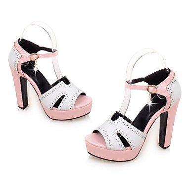 LFNLYX Las mujeres sandalias de verano otros polipiel Office & Carrera visten casual Chunky talón hebilla conjunta dividida azul beige rosa Otros Pink