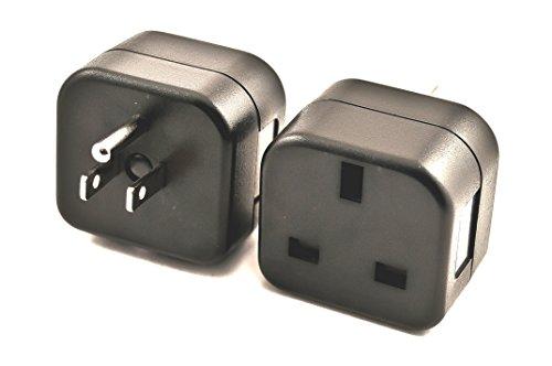 VCT VP18 UK to USA Plug Adapter Converts 3 pin British Plug to 3 Prong Grounded USA Wall Plug