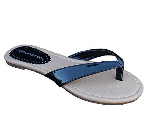 Hakon Womens Patent PU Flats Flip, Flops Black