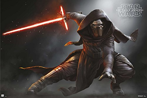 Star Wars: Episode VII - The Force Awakens - Movie Poster/Print (Kylo Ren Solo - Attacking) (Size: 36 inches x 24 inches)