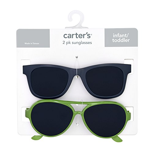 Carter's Baby Boy's 100% Uva-uvb Protected Baby Sunglasses (boy) Accessory, pink matte navy green, 0-36 - Carters Boy Sunglasses Baby