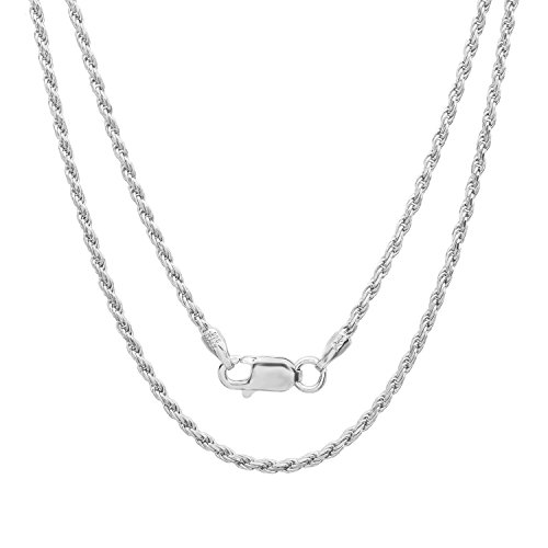 Sterling Silver Italian 1.5 mm Diamond-cut Rope Chain Necklace, 16 ()