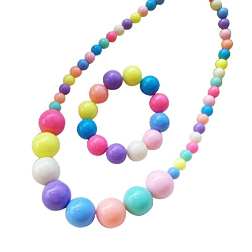Chunky Bead Jewelry - Shuning Kids Baby Girl Stretch Bubblegum Chunky Bead Necklace Bracelet Set Children Party Favor Play