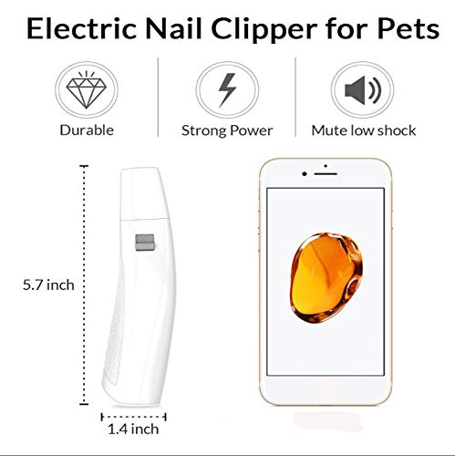 WJHA Electric Pet Nail Grinder - Cordless Nail Trimmer for Dogs, Cats, Rabbits, Birds and Guinea Pigs Ergonomically Designed for Comfort and Control Safe and Easy to Use