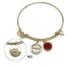 Birthstone Swarovski 12 Months Crystal Brass Round Bangle Charm Bracelet Jewelry Gift BBR247-12
