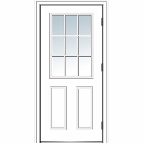 National Door Company ZZ364570L Steel, Primed, Right Hand Outswing, Prehung Door, 9 Lite 2-Panel, clear GLASS, 36