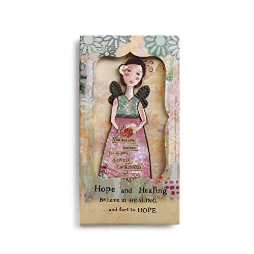 Kelly Rae Roberts Hope and Healing Angel Floral Yellow 8 x 4 Wood Decorative Ornament and Card