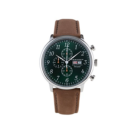 Flight White Dial Chronograph (Armogan Spirit of St. Louis - Emeral Green - Men's Chronograph Watch Suede Leather Strap)