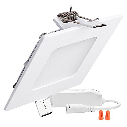 B-right 12W 6-inch Dimmable Square LED Panel Light Ultra-thin 960lm 4000K Daylight White LED Recessed Ceiling Lights for Home Office Commercial Lighting by B-right