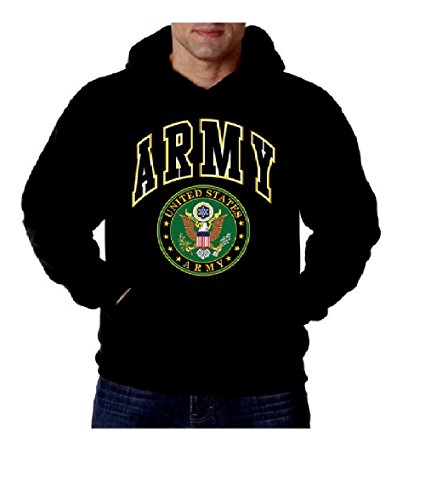 United States Army Emblem Mens Sweatshirt, US Great Seal Army Pullover Hoodie, Black, (Army Great Seal)