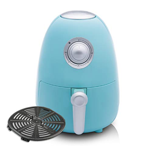 Modernhome 2.1Qt Compact Air Fryer with Full-Color Recipe Book and Dishwasher Safe Parts and Accessories – Bake, Roast, Fry and Grill Your Favorite Meals with Up to 90% Less Fat! – Seafoam Teal
