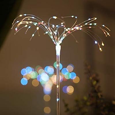 100LEDs Solar Firework Light, 2 Pack LED Copper Wire Strip String Fairy Light Soft Starburst Light Xmas Wedding Party Festival Outdoor Decoration DIY : Garden & Outdoor