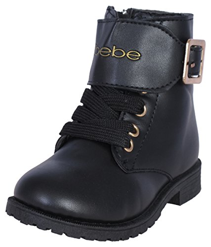 Bebe Girls Combat Boots with Metallic Bebe Print, Black, Size 8' (Sale Winter For On Boots Girl)