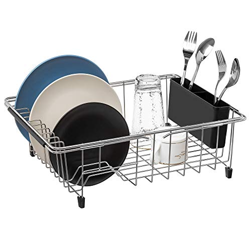 SANNO Large Dish rack Expandable Dish drying Rack,Adjustable Dish Drainers,Over the Sink Dish Rack In Sink or On Counter with Black Utensil Silverware Storage Holder, Rustproof