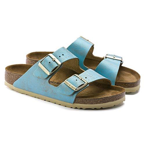 Birkenstock Unisex Arizona Suede Aqua Sandals 6 W / 4 M US