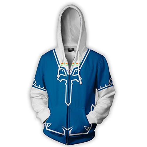 The Legend of Zelda Hoodie Cosplay Costume Breath of The Wild Link Hoodies Men's Halloween Zip up Jacket Coat Blue -