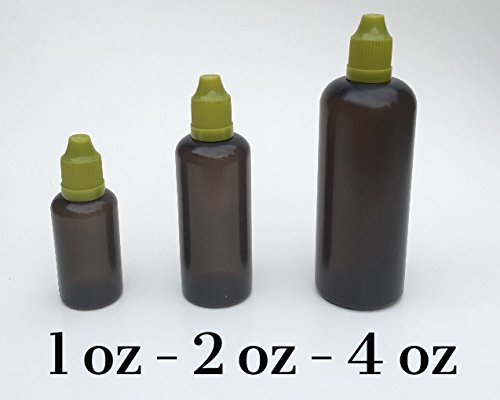 U-Need-A-Bottle (3) Size Variety Pack Black Plastic Bottles 30 ml (1 oz), 60 ml (2 oz) & 120 ml (4 oz) - BPA FREE - LDPE PE - EASY SQUEEZE Squirt Liquid Dropper Tip, Small Empty ROUND Travel Size Lot