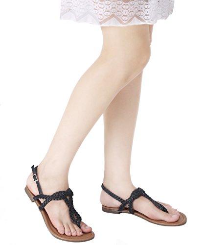 Abusa Dames Lederen / Suede Opvouwbare Sandalen Schoenen Sandalen-zwart Leer