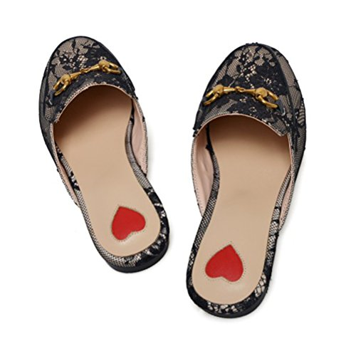 Loafer Women's Toe Shoes With Slingback Black Summer Flats Outdoor Mules Lace Agodor Closed Slippers AxdB8qwqg