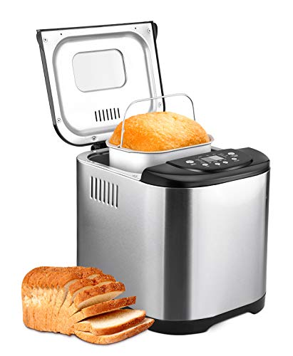 Automatic 2LB Bread Maker Machine, Beginner Friendly Breadmaker with Great Versatility, 15 Programs 3 Crust Colors, Gluten Free Whole Wheat, Quiet AC Motor&Superior Durability, Stainless Steel