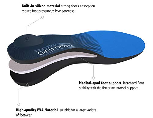 Plantar Fasciitis Feet Insoles Arch Supports Orthotics Inserts Relieve Flat Feet, High Arch, Foot Pain Mens 6-6 1/2 | Womens 8-8 1/2
