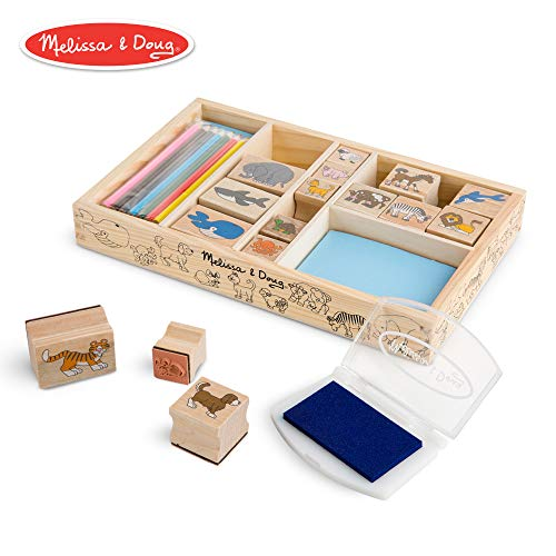 Melissa & Doug Wooden Stamp Set - Animals (16 Stamps, 7 Colored Pencils, Washable Ink Stamp Pad)