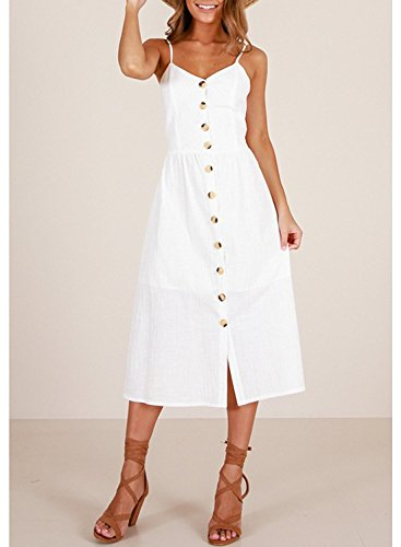 Summer with Pockets Strap Floral Salimdy Spaghetti 0861white Button Dress Midi Front Bohemian Womens FBHxqI