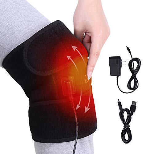 Heat Knee Brace for Knee Warm, Heat Knee Wrap for Arthritis, Knee Heating Pad for Hot/Cold Therapy, Electric USB Heated Knee Pads Support for Pain Relief, 3 Temperature Control, 1PC for Men Women