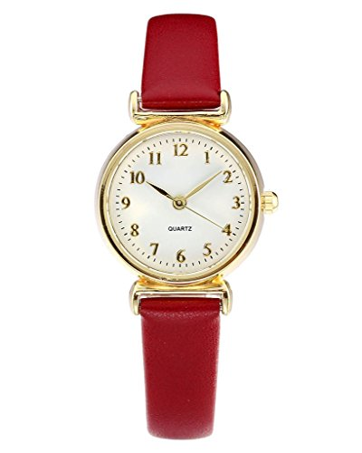 Womens Fashion Numerals Golden Dial Leather Analog Quartz Watch Red - 4
