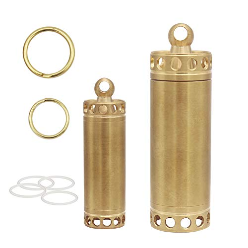 HRX Package Waterproof Brass Pill Case Bottle Keychain, Single Chamber Pill Fob Holder for Purse Pocket Men Gift Outdoor EDC Tool Kit