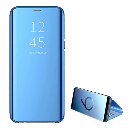 for Samsung Galaxy S10 5G case Clear View Cover Slim Mirror Plating PC Full Body Protective Standing Cover (Blue)