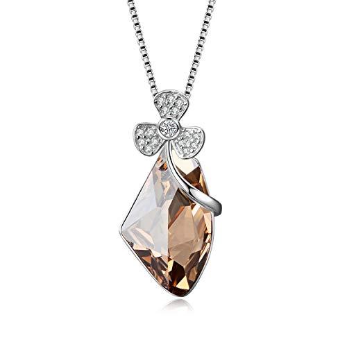 (AOBOCO 925 Sterling Silver Teardrop Necklace Elegant Shamrock Focal Shape Pendant with Swarovski Crystals,Gift for Women ...)