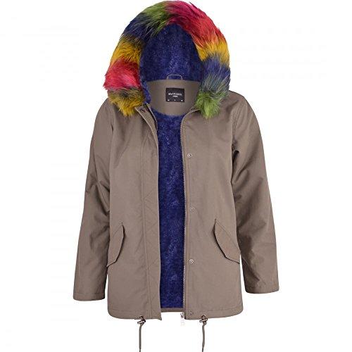 52_DNM Ladies Women??s Oversized Hood Soft Coloured Pink Blue Wine Fur Parka Long Jacket Coat Khaki Green - Rainbow Fur