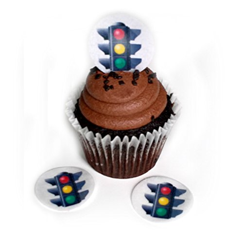 Traffic Light Stop Sign 1.5 Inch Wafer Paper Toppers for Decorating Desserts Cupcake Pack of -