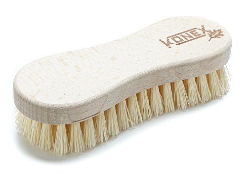 Economy Brush - Konex Fiber Economy Utility Cleaning Brush. Heavy Duty Scrub Brush With Wood Handle. (Peanut shaped)