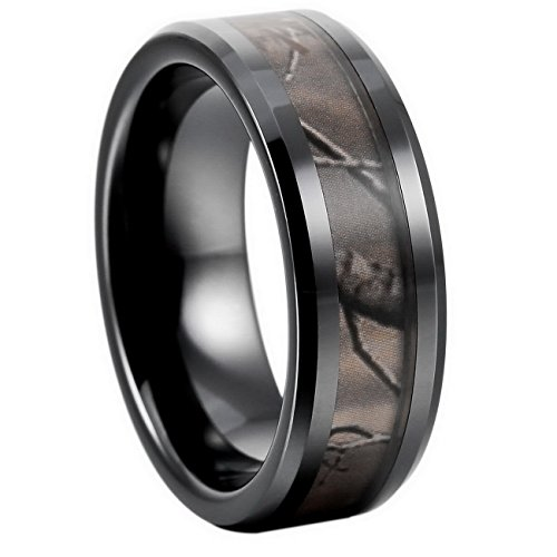 MOWOM Black Brown 8mm Ceramic Ring Hunting Camo Camouflage Comfort Fit Band Wedding