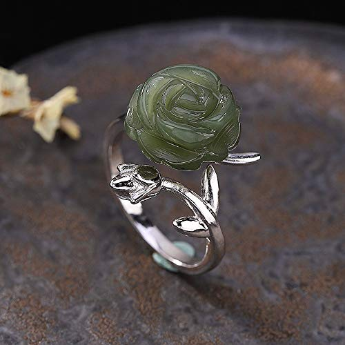 THTHT Open Ring S925 Sterling Silver Retro for Women Jasper Rose Simple High-End Creative Personality Gifts National Style Jewelry