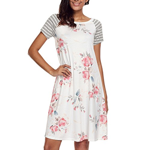 RedLife Women's Casual Striped Print Half Bell-Sleeve High-Low Hem Ruffle Trimmed Midi Dress Knee Length With Pockets (X-Large, White)