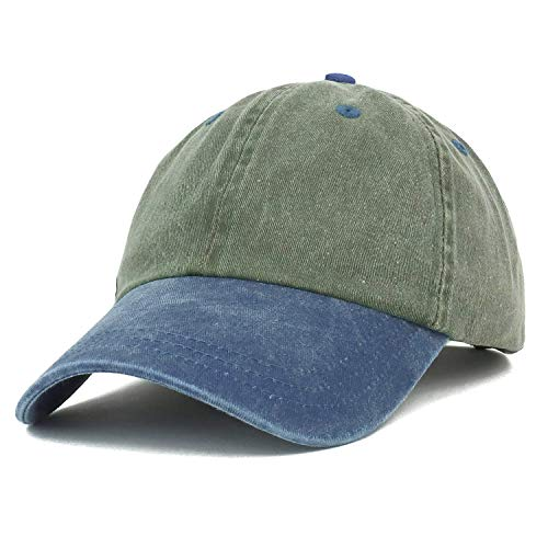 (Trendy Apparel Shop Low Profile Unstructured Pigment Dyed Two Tone Baseball Cap - Olive Navy)