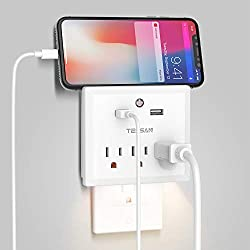 USB Wall Outlet Extender with Night Light, Multi Outlets USB Plug for Cruise Travel/Dorm Room