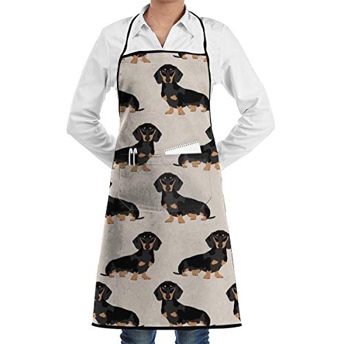 (JNSHO-G Functional Aprons with Handy Pocket, Doxie Weiner Dog Bib Apron for)