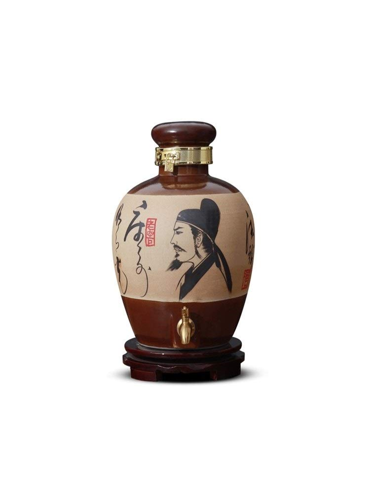 Guyuexuan Wine Bottle Ceramic Household with lid Sealed Chinese Wine with Faucet Flask (Size : 3448cm)