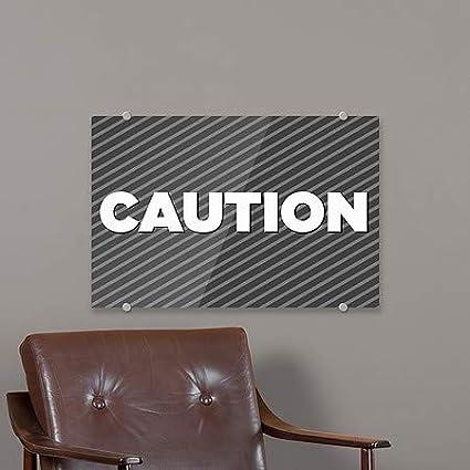 27x18 Stripes Gray Premium Brushed Aluminum Sign CGSignLab Caution