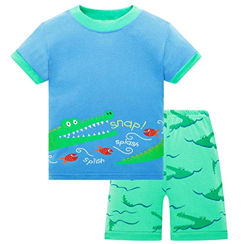 (ZFBOZS Boys Pajamas Big Kids Pyjamas Summer Shorts Set Cotton Sleepwear Clothes Crocodile Size 8)