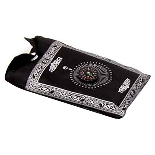 Haihuic Portable Muslim Prayer Rug with Compass Qibla Finder Waterproof Pocket Blanket 100x60cm for Outdoor Camping Hiking | Black