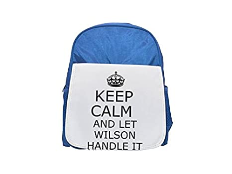 Mango it Wilson Keep Calm printed Kid s azul mochila, para mochilas, cute