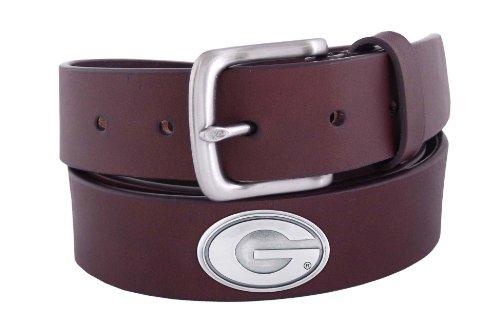 NCAA Georgia Bulldogs Brown Leather Concho Belt, 32