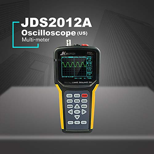 Digital Oscilloscope, JDS2012S Professional Handheld Digital Oscilloscope 4000 Counts Digital Multimeter 25MHz 200MSa/s with Lithium Battery Charger