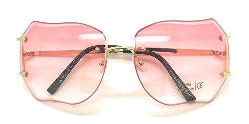 MyUV OVERSIZE RIMLESS CLASSIC VINTAGE RETRO STYLE GOLD FRAME EYE GLASSES (Pink, - 70 Style Glasses